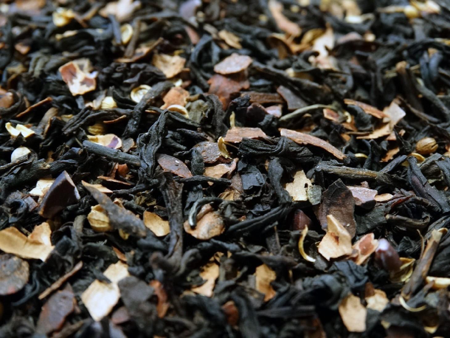 Black tea, cocoa beans, coriander