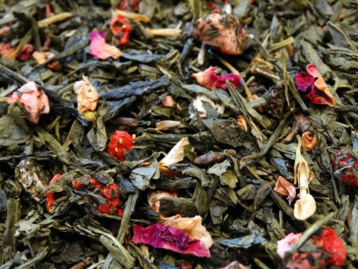 thé vert aromatisé au litchi et fraise smiley Tea & Cie boutique de thé à Vannes