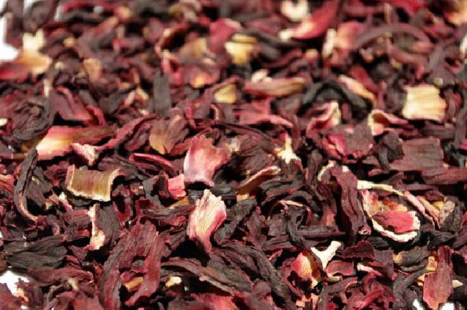 Infusion of Egyptian hibiscus flower offering a surprisingly pink liquor.