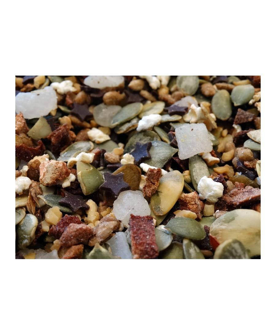 Quinces, aloe vere, seeds, puffed rice, chocolate stars