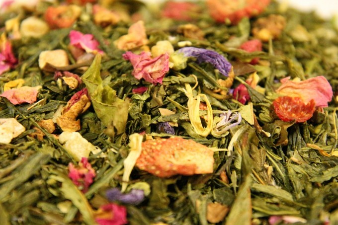 Green and white tea exotic fruit pieces mint rosebuds mallow petals