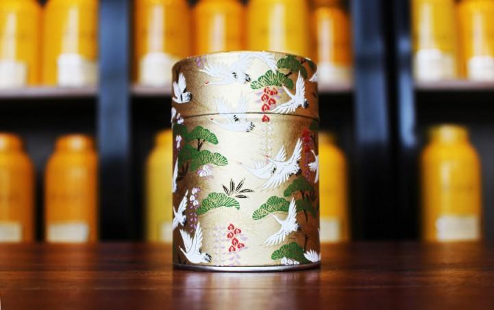Boîte à thé washi cigognes dorées Tea&Cie Maison de thé